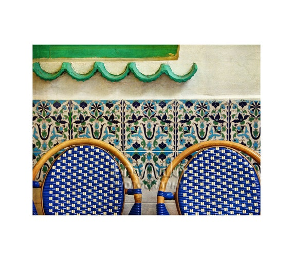 Decorative Tile Photo, Paris Cafe, Travel Photography, Cobalt Blue Chairs, Mint Green Wave, Paris Photography