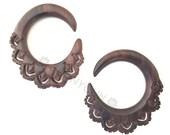 0G Pair Tiger Rosewood Chakra Wood Hoops Gauges Plugs Dunnygun Body Piercing Jewelry 0 Gauge Earrings