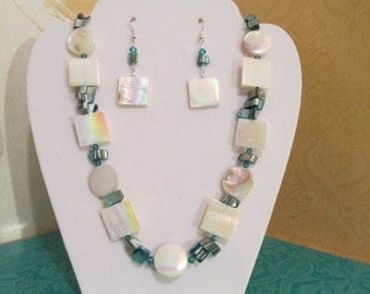 Turquoise Shell Blue Necklace Earrings 20mm Mother of Pearl Square and Round with Indicolite Swarovski Crystals REDUCED