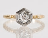 RESERVED - Antique Engagement Ring - Antique Art Deco 14k Two-Tone Diamond Engagement Ring