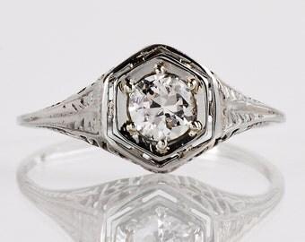 Antique Engagement Ring - Antique Edwardian 14k White Gold Filigree Diamond Engagement Ring