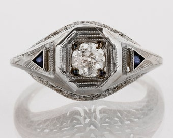 Antique Engagement Ring - Antique Edwardian Platinum Filigree Diamond and Sapphire Engagement Ring