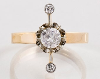 Antique Ring - Antique 14k Yellow Gold Diamond Ring