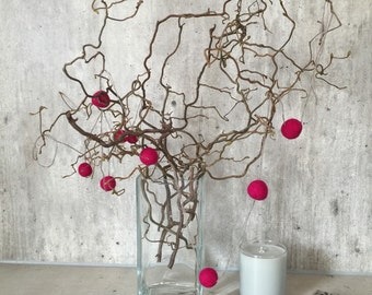 Pom pom garland , home decor,  garland pom pom, garland felt , wool balls decoration, red garland