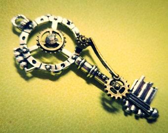 Steampunk Skeleton Key Pendant Gear Key Mixed Metal Antiqued Silver Bronze 68mm