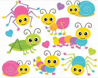 Clipart - Crawling Bugs / Insects (Spider /Cricket / Grasshopper / Ants / Snail) - Digital Clip Art (Instant Download)
