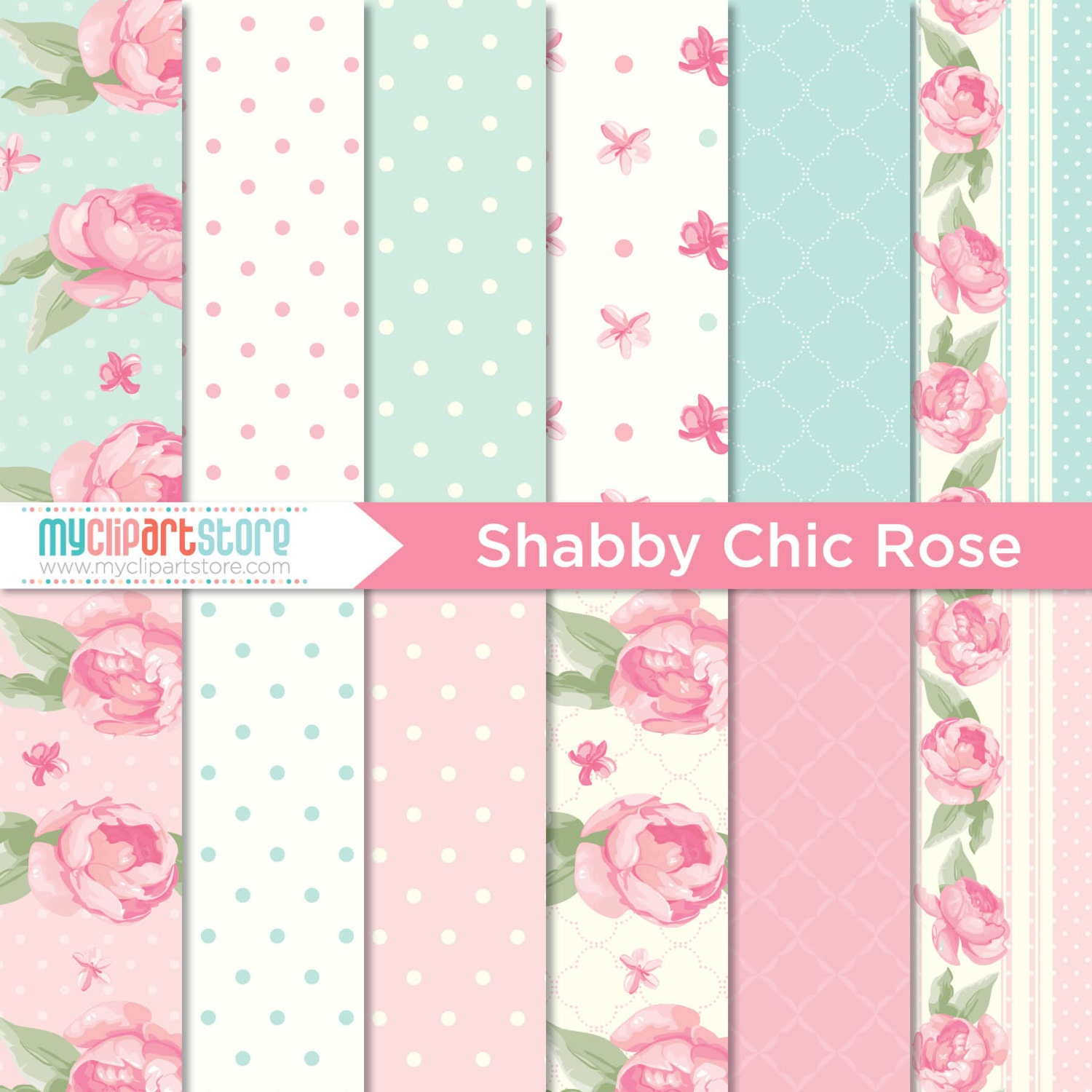 digital paper shabby chic rose scrapbook paper digital pattern commercial use jpeg pdf. Black Bedroom Furniture Sets. Home Design Ideas