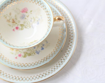 Vintage Tea Cup, Saucer and Dessert Plate, Trio Set by Zeh Scherzer, Bavaria, Germany, Gifts for Her, Replacement China