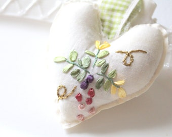 Handmade Embroidered Vintage Fabric Stuffed Hanging Heart, Hanging Heart Ornament, Gifts for Her, Heart Pillow, Shabby Chic