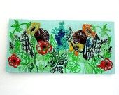 Vintage Crewel Embroidered Poppies on Aqua Coarse Weave