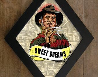 Freddy Krueger  from A nightmare on Elm Street. Sweet Dreams diamond framed print.