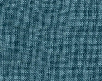Washed blue linen fabric, natural linen, linen cloth  fabric, linen accessories, supplies