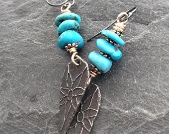 Tribal heart dangle earrings - rustic boho long turquoise mixed metal drops by mollymoojewels