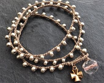 Silver crochet wrap bracelet - cross beaded boho jewelry, gift for her by Mollymoojewels