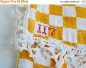 Sale 50 % Off Vintage French NAPKIN CASE, Yellow Lustucru Pattern Pouch with Lace Border. Checkered Linen Case.