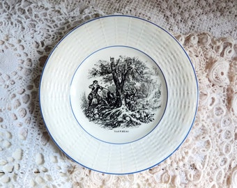 Antique MONTH of the YEAR Plate, NOVEMBRE French Side or Breakfast Dish, Birthday Plate, Stamped Digoin, France. 1910s.