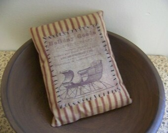 Primitive Sleigh Logo Homespun Ticking Pillow Tuck Holiday Decor