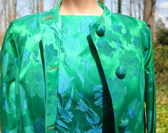 1960 Vintage  Carol Craig Suit Dress Formal Ensemble in Green and Blue Brocade