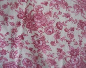 Shades of Rosey Pink Flowers on Country White Ground Cotton Fabric Yardage, Quilts, Decor, Apron, Curtains