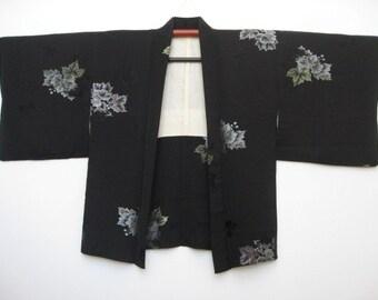 Vintage Kimono Jacket,Haori,Silk,Black,No.1