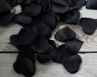 Heart shaped BLACK satin rose petals - for wedding basket, anniversary, or romantic date night, ready to ship