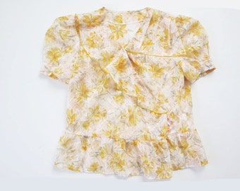 1940s blouse / Vintage 40s top / Yellow Floral Shirt / Garden Party / Semi Sheer Voile Cotton
