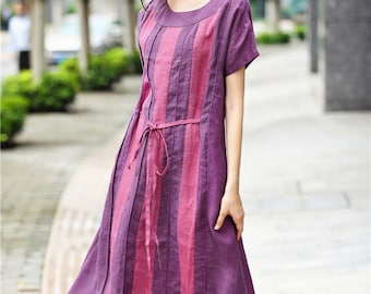 Maxi Linen Dress  / linen Shirt in purple and rose / Teo Oversized Long Shirts, Linen Tunic Dress, Evening dress plus size, contrast color