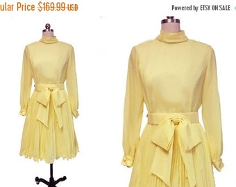 20% off Sale Vintage 50s 60s Pleated Party Dress with Bow belt in Lemonade 50s dress yellow dress