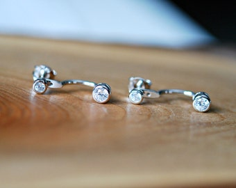 Diamond stud ear jacket - sterling silver CZ earring - double crystal - round bezel - diamond stud earring - double earring - rock steady