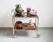 Vintage bar cart, 60s brass bar cart, Mid Century modern bar, brass cart 60s 143