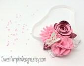 Pink Headband. Butterfly Headband. Pink Flowers. Baby Headband. Felt Flower Cluster. Flower Crown. Wool Felt Flower. HB1338