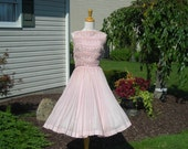 50's pink soft, light weight  cotton dress, sundress, full pleated skirt, lovely lace bodice, designer- Caryle