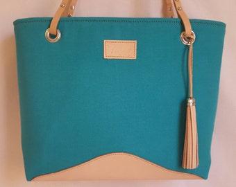 Medium Canvas handbag, turquoise, leather, purse, shoulder bag, handmade