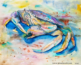 Dungeness Crab-Giclee by Jen Callahan Canvas Wrap
