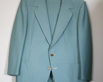 vintage mint green polyester suit by phoenix for eklund clothing co mpls. size 46
