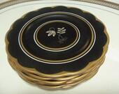 Vintage Plates/6 Royal Albert Dessert Plates/Matte Black Background/Matte Gold Trim/Scalloped Edge/Fancy Dishes/Stylized Flower Design/Gift