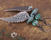Boho Tribal 'Angel Wings' earrings n114b- antique copper wing . lead and nickel free . long boho wings . blue artisan borosilicate lamp work