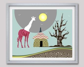 Giraffe Print African Safari Decor, African Animal Print Nature Decor, Giraffe Wall Art, Giraffe Painting