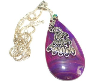 Purple Agate with Peacock and Swarovski Crystal Pendant