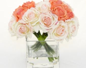 Real Touch Peach Orange Roses Light Pink Roses Ivory Roses Arrangement using Artificial Faux Silk Flowers for Home Decor