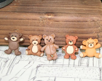 Stuffed with Love Teddy Buttons, Dress it Up, Bear Buttons, Sewing, Cardmaking, 5pc
