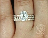 Hillary 9x7mm & Naomi 14kt Rose Gold Oval FB Moissanite and Diamond Basket TRIO Wedding Set (Other metal/stones available)