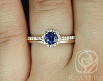 Rosados Box Amanda 0.63ct & Plain Barra 14k Rose Gold Blue Sapphire and Diamond Wedding Set
