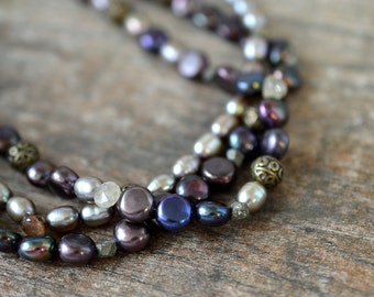 Multi strand pearl necklace on leather cord Multi layer necklace Dark grey freshwater pearls with brass bead accents Modern office jewelry