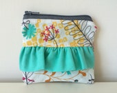 Ruffle Coin Pouch - Zippered - Small Pretty Flower Pouch - Mini Coin Bag - Tiny Coin Purse - Botanical Pattern, Turquoise, White, Card Pouch