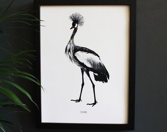 Encyclopedia Inspired Fine Art Print, Crane