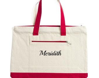 Monogrammed beach bag/large zippered tote bag/beach bag/Personalized tote/teacher bag/zippered tote bag
