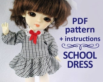 PDF pattern School dress for Lati yellow / PukiFee bjd