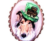 St. Patrick's Day Collie wearable art copper plate pin