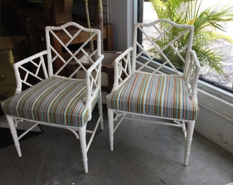 Faux Bamboo Chinese Chippendale Arm Chairs, Pair